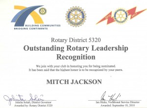 "Jon Mitchell Jackson Nominated for 2010 ""Business Rotarian of the Year"" Award!"
