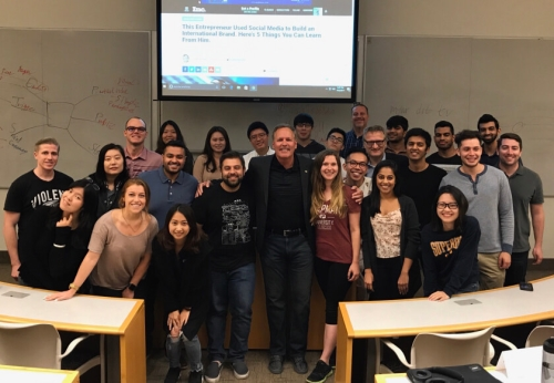 Mitch Jackson with Chapman University's MBA Class