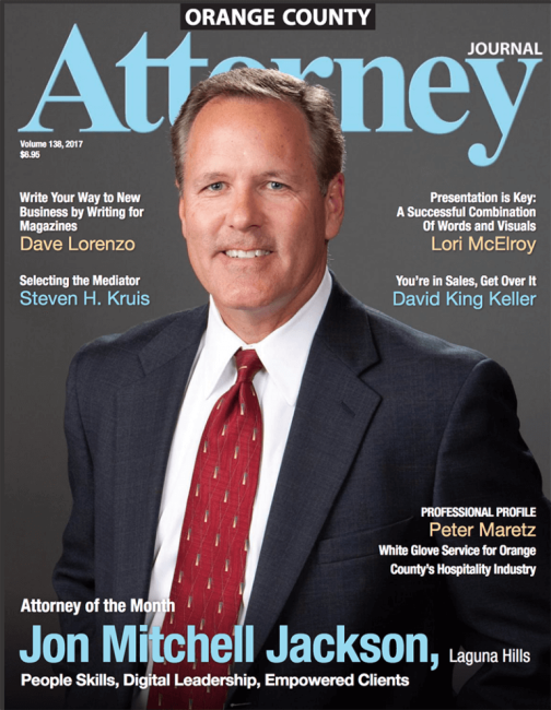 Mitch Jackson on Orange County Attorney Magazine Cover